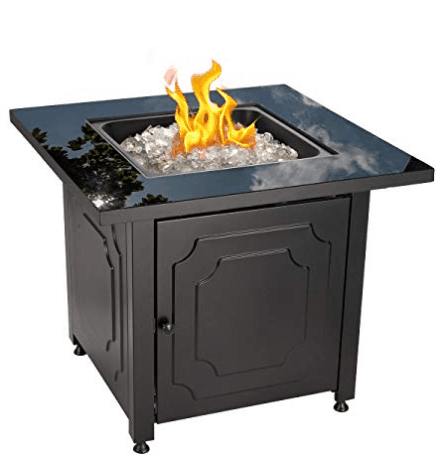 Blue Rhino Black Glass and White Fire Glass Top Outdoor Propane Gas Fire Pit